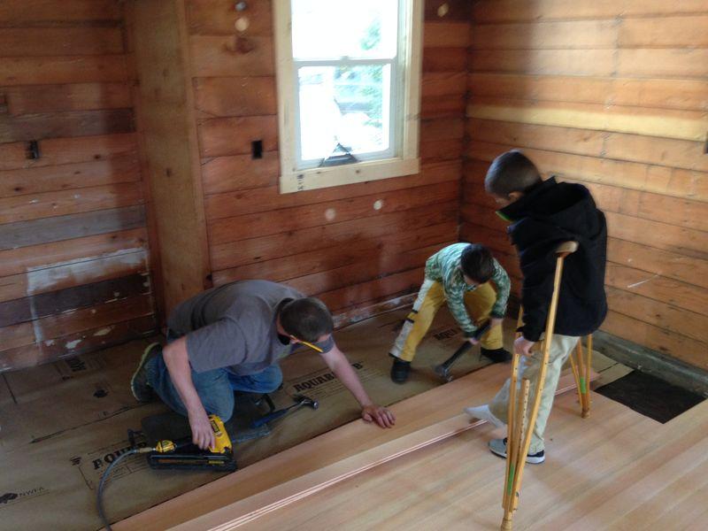 Putting in wood floors